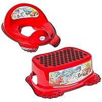 Réducteur de toilette anti-dérapant + marchepied pour évier WC enfant bébé Tega Baby voiture cars couleur rouge