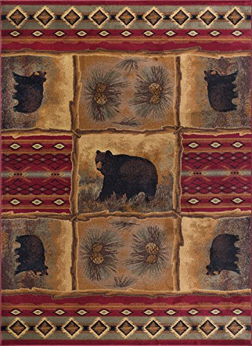(Sierra Bear Novelty Lodge Pattern Red Rectangle Area Rug, 8' x 10')