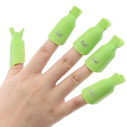 10 pinzas de plástico acrílico para uñas, para quitar el esmalte de uñas