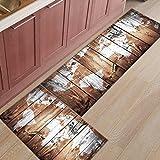 Infinidesign 2 Piece Kitchen Rubber Backing Non-Slip Bath Rugs Runner Doormat Set - Retro Monochrome Wood Grain World Map Runner Carpet Set - 19.7''x31.5''+19.7''x47.2''