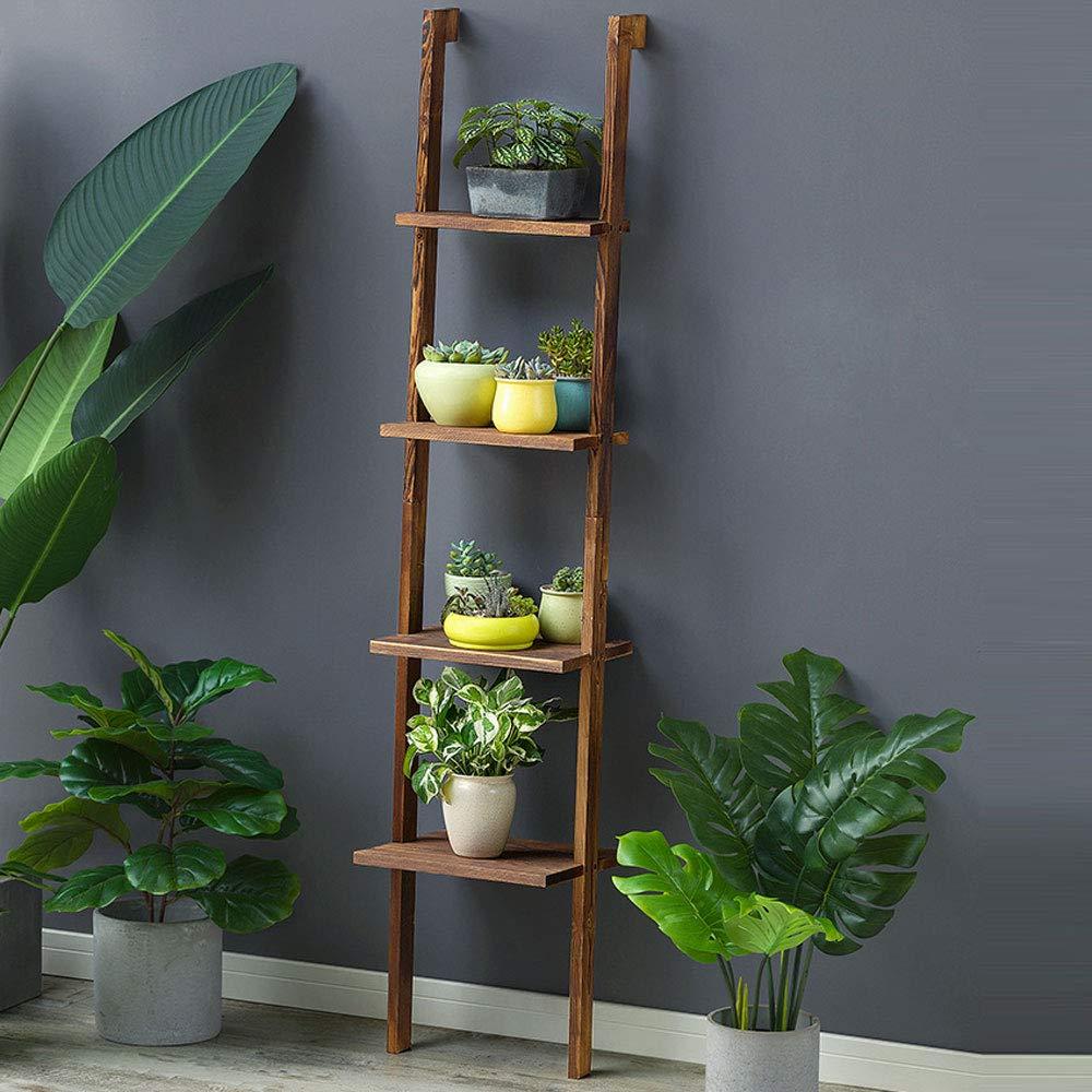 Scaffali porta piante Fioriera in legno massello Telaio scaletta multistrato Soggiorno Fioriera interna Mensola (colore   NERO)