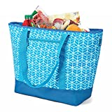 12 Gallon Insulated Mega Tote Bag for Transporting Frozen Food, Perishables and Hot Food - Blue Geometric Print