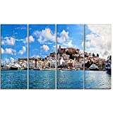 Designart PT7225-271 4 Panel Panorama of Ibiza Spain Cityscape Photo Canvas Art Print, 48 x 28''