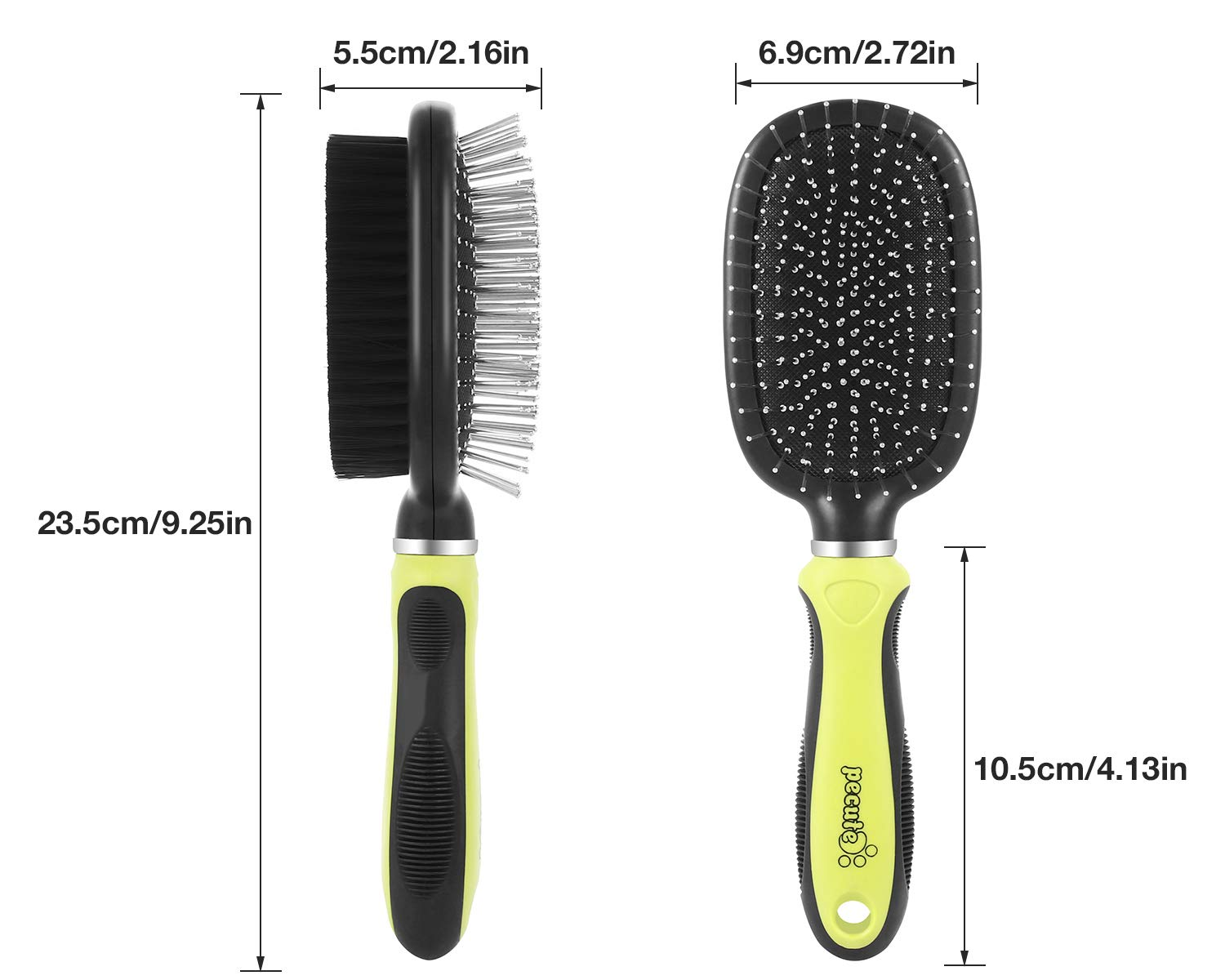 Pecute Double Sided Pet Grooming Brush - 2 in 1 Pin & Bristle Soft Brush - Daily Use to Clean Loose Fur & Dirt - Great for Dogs and Cats With Short Medium Long Hair