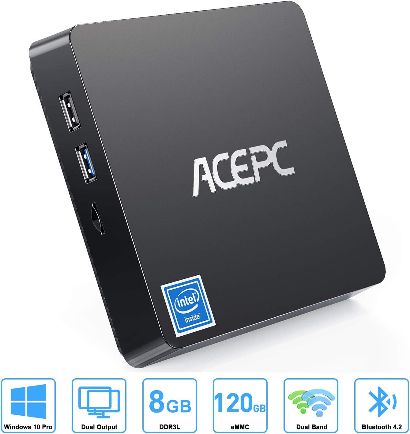 ACEPC T11 Mini PC, 8GB DDR3, 120GB eMMC, Windows 10 Pro Mini Computer,Intel Atom z8350 up to 1.9 GHz, Dual Display up to 4K HD,Bluetooth 4.2,Gigabit LAN,Dual Band WiFi
