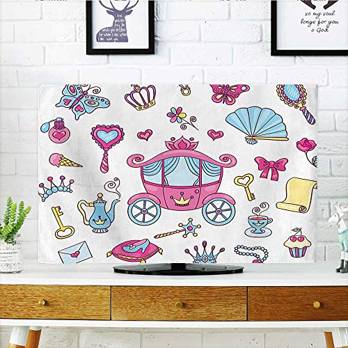"""Auraisehome Cord Cover for Wall Mounted tv Collection Princess Theme Pattern Carriage Tiara Wand Butterfly Key Fairy Tale Girls Room Cover Mounted tv W35 x H55 INCH/TV 60"""""""