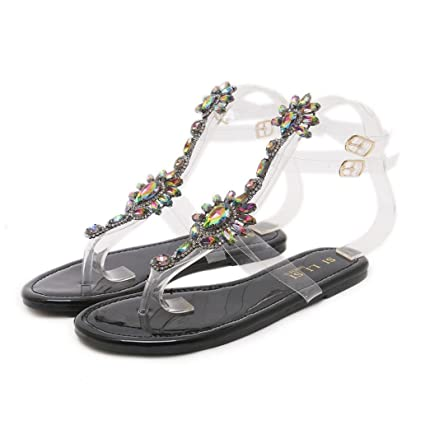 80537417b Baigoods Summer Woman Sandals Rhinestones Transparent Chains Ankle Strap T- strap Comfortable Flat Crystal Fairy