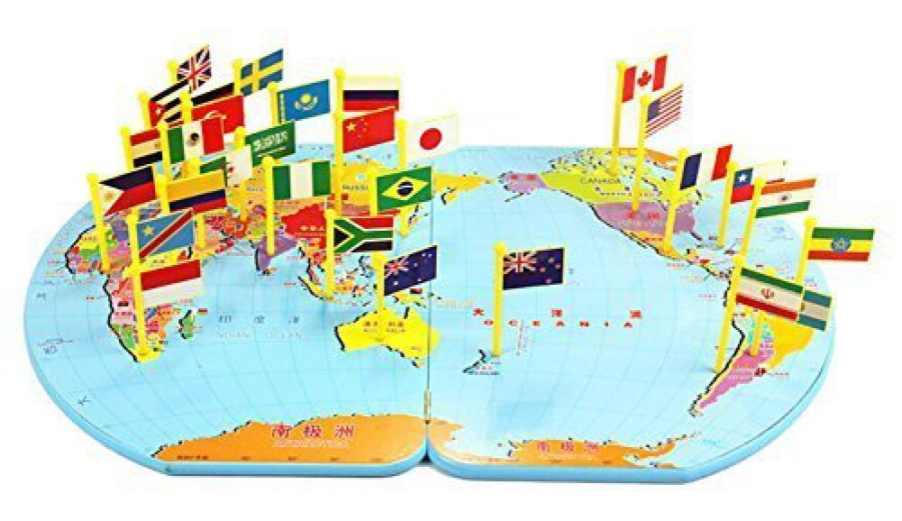Buy Wooden World Map Flag Matching Puzzle Geography Educational - Geography map for kids