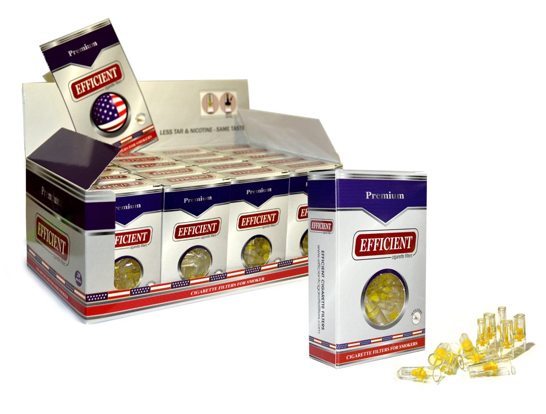 EFFICIENT Cigarette Filters, Filter Tips For Cigarette Smokers 80 Packs (2400 Filters) Wholesale by EFFICIENT