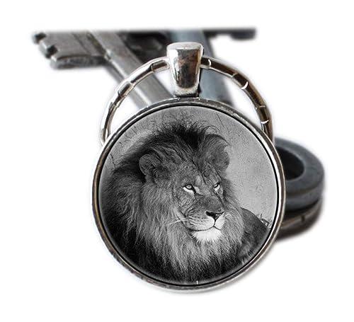 León cabeza de león llavero clave cadena Animal llavero ...