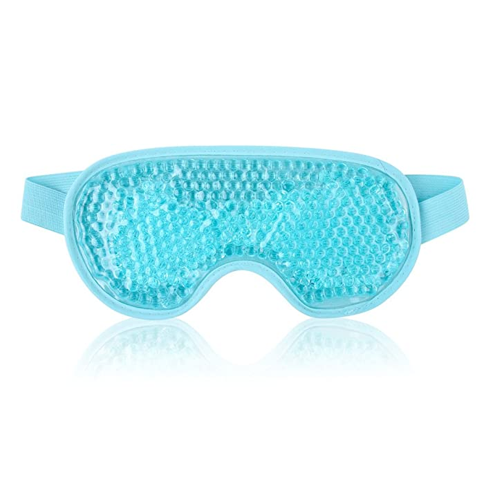 Cold Eye Mask for Puffy Eyes Reusable Cooling Eye Mask with Gel Bead for Hot Cold Therapy, Stress Relief, Migraine, Headache and Sinus Pain - Blue