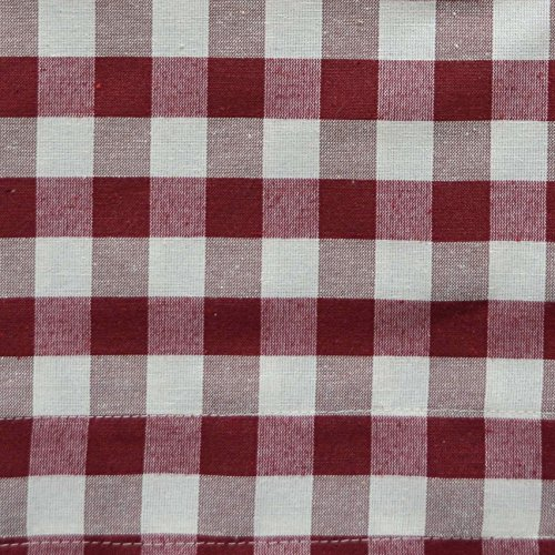 Wine Red 3 Piece Gingham Check Kitchen Window Curtain Set: Plaid, Cotton Rich, 1 Valance, 2 Tier Panels (Matching 3 Piece Window Curtain Set)
