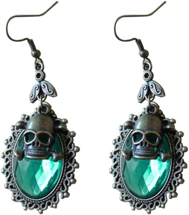 OULII Pendientes de Calavera de Halloween Pendientes de Gota de Cristal Fiesta de Punk Steampunk Vintage Gota de oído (Verde)