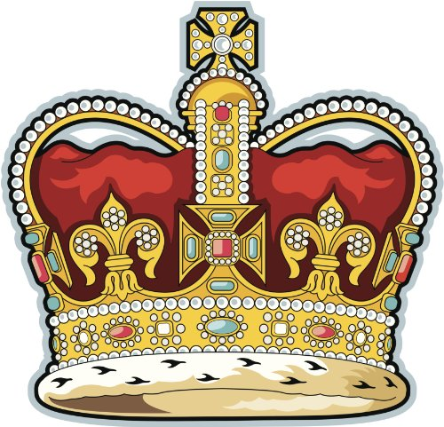 ROYAL BEJEWELED CROWN RED GOLD BLUE YELLOW BLACK WHITE Vinyl Decal Sticker Two in One Pack (4 Inches Wide)