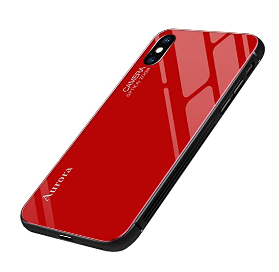 save off 03eb0 f42c3 Seabaras iPhone Xs Max Case Gradient Color Aurora Tempered Glass Case 9H  Blue Ray Back Cover Soft TPU Bumper Frame for iPhone Xs Max (Wine Red)