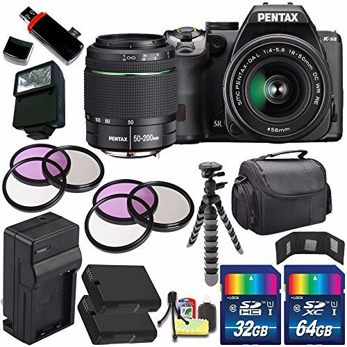 Pentax K-S2 DSLR Camera with 18-50mm & 50-200mm Lenses (Black) + Replacement Battery + External Charger + 96GB Deluxe Accessory Kit Bundle