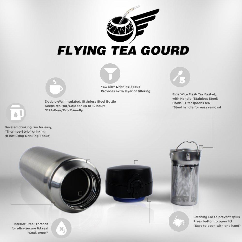 Flying Tea Gourd Travel Tea Infuser Bottle Loose Leaf 16oz Stainless Steel Tea Thermos with Mesh Tea Basket