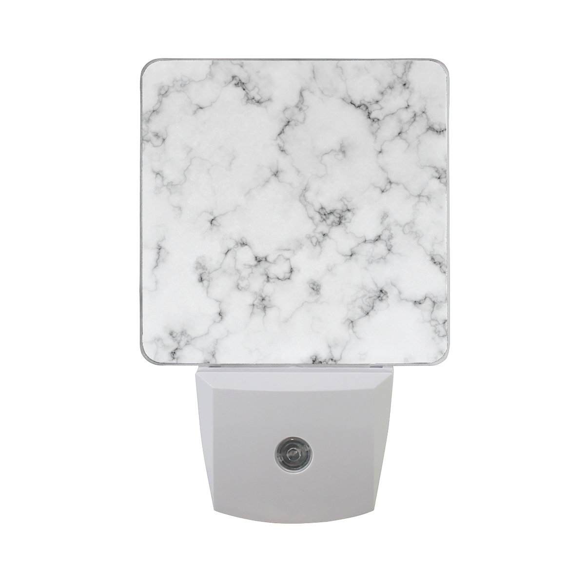 Plug-in LED Night Light Lamp White Marble Luxury Printing with Dusk to Dawn Sensor for Bedroom, Bathroom, Hallway, Stairways, 0.5W-2 Pack
