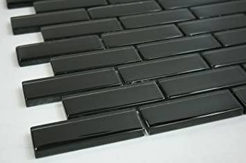 Black 1 x 3 Black Glass Tile Amazoncom