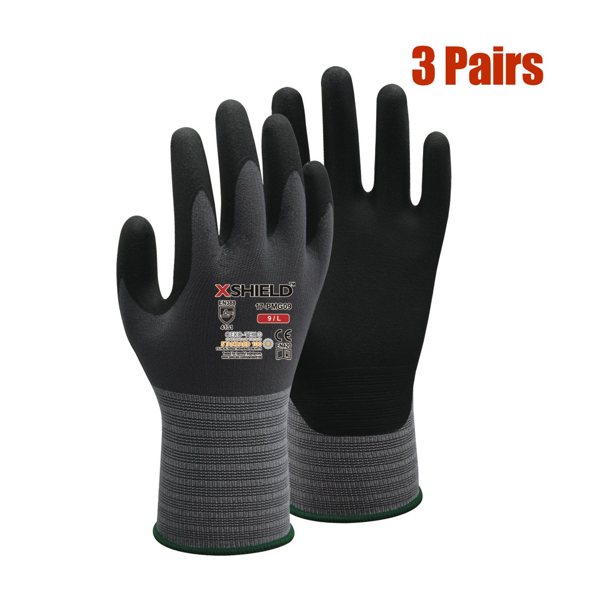 XSHIELD 17-PMG,Ultimate Micro Foam Nitrile Grip Safety Work Gloves for General Purpose, OKEO-Tex Certificated,Ideal for Auto Repair, Home Improvement,3 Pairs(Large)