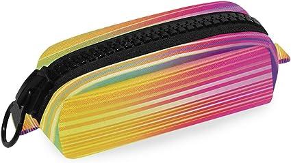 Estuche colorido con diseño de rayas y arcoíris para pintar lápices, estuche para lápices y artículos de papelería escolar, estuche para cosméticos con cremallera: Amazon.es: Oficina y papelería