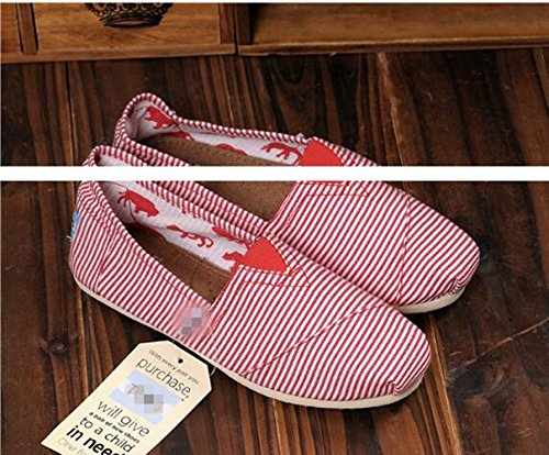 Amazon.com | Jackdaine Tom Ms. Stripes Lazy Canvas Shoes Low to Help Flat Shoes Carrefour Shoes Blue | Loafers & Slip-Ons