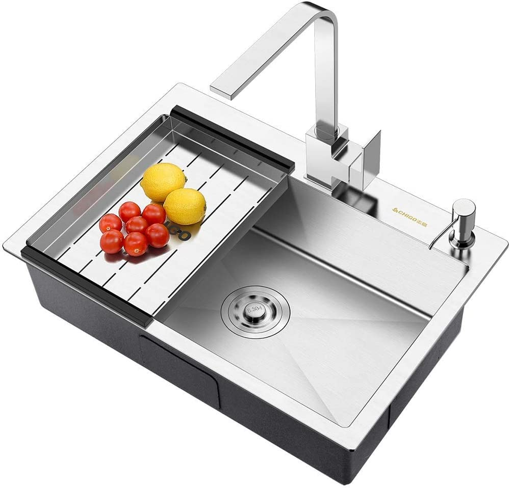Kitchen Sinks Bath Fixtures Bathroom Sink Household Sink Restaurant Sink Wash Basin Stainless Steel Sink Sink With Water Tap Color B No Water Faucet Size 68 45 22cm
