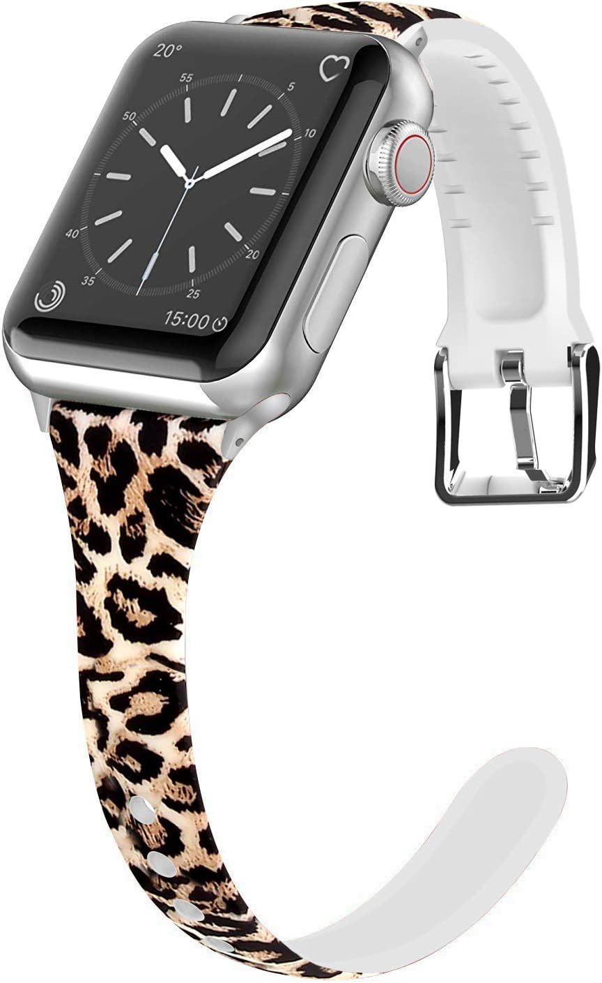 Lwsengme Compatible for Apple Watch Band 38mm 40mm 42mm 44mm, Silicone Slim Women iWatch Bands Wristband Compatible for Apple Watch Series 4 3 2 1 (Leopard, 38mm/40mm)