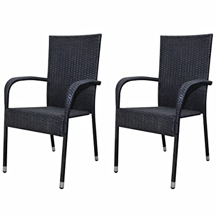 Festnight Outdoor Garden Patio Wicker Stacking Dining Chairs Set Of 2 Poly Rattan