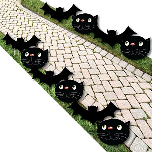 Black Cats and Bats - Cat and Bat Lawn Decorations - Outdoor Halloween Yard Decorations - 10 Piece ()