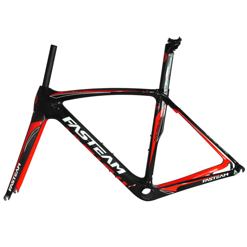 fasteam ft 004 full carbon ud clear coating road bike frame with a full carbon fork yellow red
