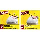 Glad Tall Kitchen Drawstring Trash Bags, 13 Gallon, 90 Count, (Packaging May Vary) (2)