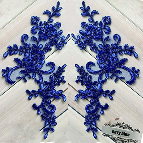 2 Pcs Navy Flower Lace Patches for Wedding Dress DIY Clothing Flower Applique Collar Material