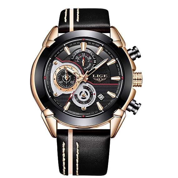 f0ceca7fa959 LIGE Relojes Hombres Reloj Deportivo de Cuarzo Reloj de Pulsera de Cuero  Casual Reloj analógico Impermeable Cronógrafo Multifunción para Hombres de  Negocios ...
