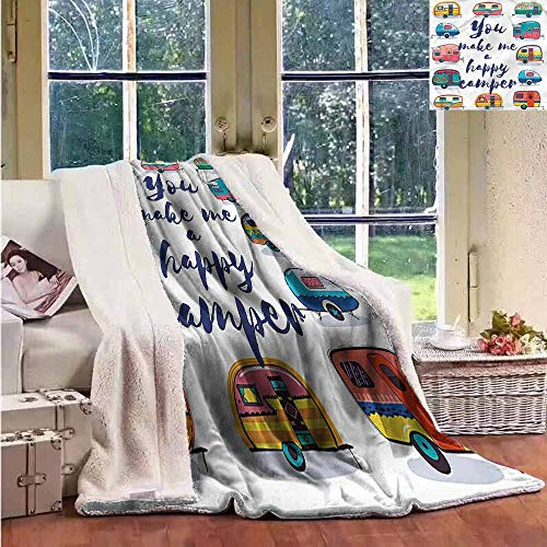 Sunnyhome Custom Blanket Camper You Make Me Happy Quote Upgraded Thick Lazy Blanket W59x31L