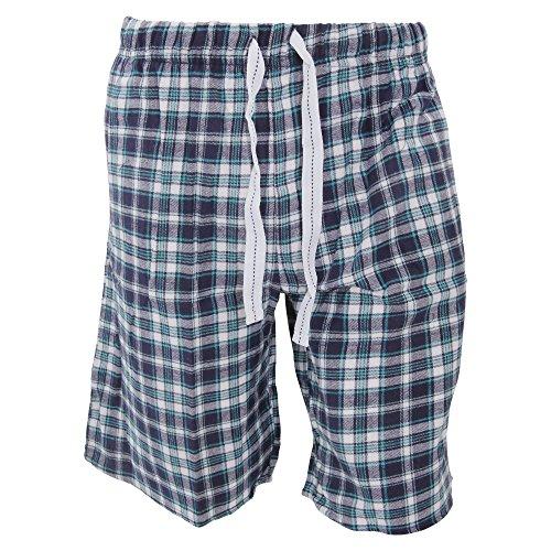 Cargo Bay Mens Plaid Pattern Flannel Pajama Shorts (Medium (Waist: 32-34inch)) (Navy/White/Aqua)