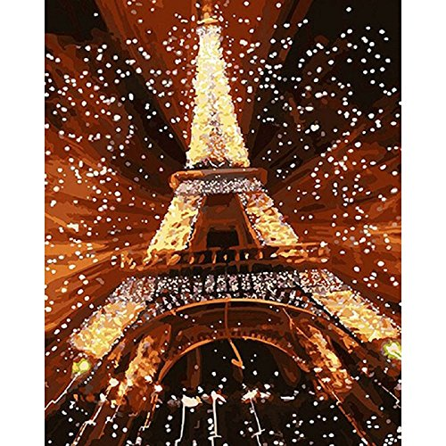 Diy Oil Painting Paint by Number Kit with Couple Abstract painting Life 16x20 inch (Wooden frame, Snow Eiffel Tower)