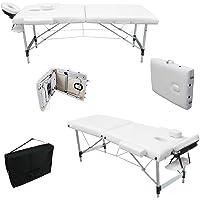MERVY- CADEAU NOEL - PRIX IMBATTABLE - Table de massage pliante 2 zones Aluminium avec panneau Reiki + accessoires et housse de transport - 2 coloris - Norme CE *Blanche*