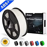 Filamentos de ABS para impresora 3D-SUNLU Filamento de ABS blanco 1.75 mm, precisión dimensional de olor bajo +/- 0.02 mm Filamento de impresión 3D, 2.2 LBS (1 kg) Filamento de impresora 3D Spool para impresoras 3D y bolígrafos 3D, blanco