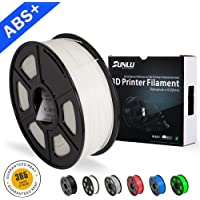 SUNLU ABS Plus Filaments for 3D Printer, White ABS Filament 1.75 mm,Low Odor Dimensional Accuracy +/- 0.02 mm 3D Printing Filament,2.2 LBS (1KG) Spool 3D Printer Filament,White