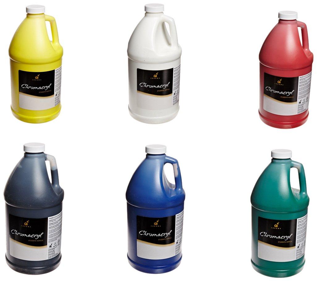 Chroma Chromacryl Premium Acrylic Paint - 1/2 Gallon - Set of 6 - Assorted Colors