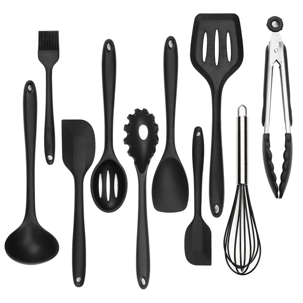 Silicone Kitchen Utensil Set - 10 Pack Cooking Utensils,Kitchen Gadgets Cookware Set - Best Kitchen Tool Set Gift by Lot-yeah