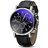 Mens Quartz Watch,COOKI Unique Analog Business Casual Fashion Wristwatch,Clearance Cheap Watches with Comfortable PU Leather Band-W05,Black