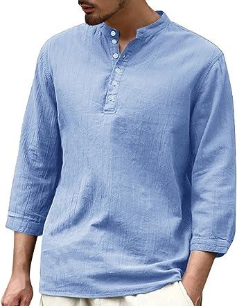 Fueri Henley Shirts - Camisa de lino para hombre, estilo casual, de manga larga, para verano, para la playa C azul XXL