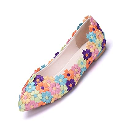 Amazon.com | Lace Wdding Shoes Flats Casual Shoes Women Pointed Toe ...
