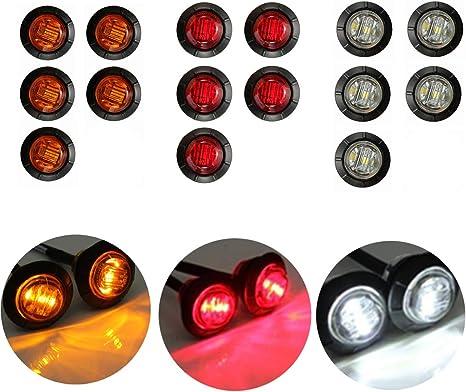 Bianco Rimorchi Luci Per Camion Rosso Roulotte 12 V Colore Ambra 8 LED Laterali
