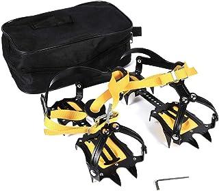 Asixx Crampon à Neige, 1 Paire de Crampon Antidérapent avec 18 Dents en Acier Fort Crampon d'alpinisme pour Randonnée, Durable et Résistant au Froid