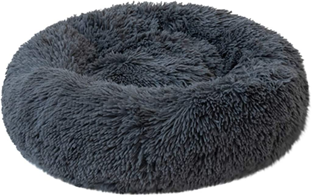 TOPBIGGER Lux Fur Donut Cuddler Round Donut Cat and Dog Cushion Bed Soft Plush Round Pet Bed for Cats or Small Dogs
