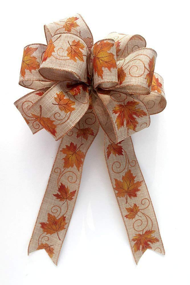 Fall leaves bow for wreaths, Autumn decor, fall decoration, Thanksgiving decoration