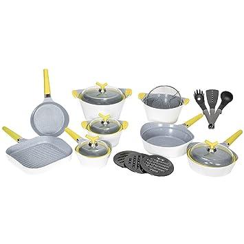 Batería de cocina de 19 piezas Premium White Stone de Cecotec. Sartenes y ollas de alta gama. Revestimiento Ceramium. Aptas para todas las cocinas. ...